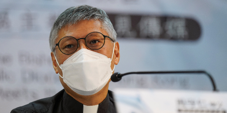 New leader: Bishop-elect Stephen Chow Sau-yan of Hong Kong speaks during a news conference at the Catholic Diocese Centre in Hong Kong May 18, 2021.