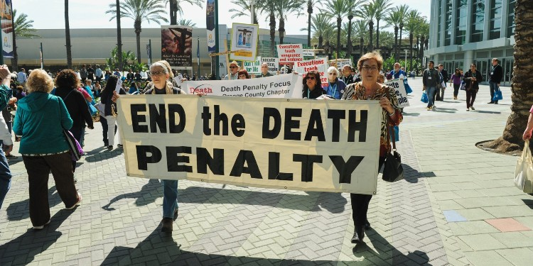 Marching for life: Demonstrators protest the death penalty in Anaheim, California.