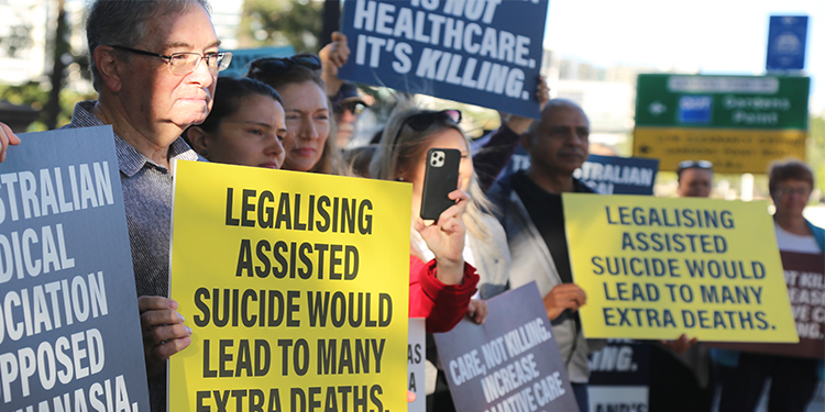 Pro-life protesters oppose proposed euthanasia laws outside Queensland Parliament
