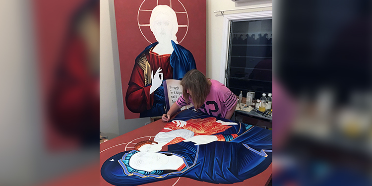 Icons: Lucy working on the icons she wrote for Stella Maris Church, Maroochydore.