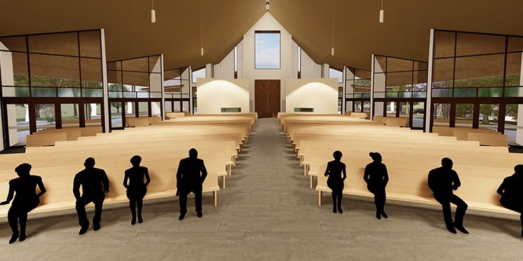Prayerful space: The interior of the new church with glass doors that can be opened for more people at major feasts.