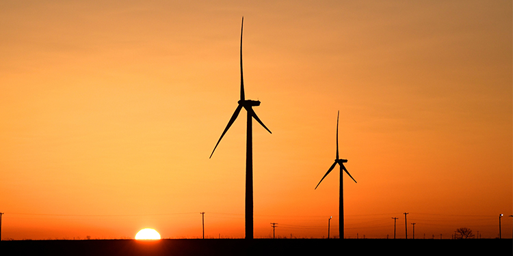 """Wind turbines operating at sunrise in Texas. The message of Pope Francis' encyclical, """"Laudato Si', on Care for Our Common Home,"""" continues to be prophetic for a pandemic-hit and post-pandemic world, according to the Vatican office responsible for environmental concerns."""