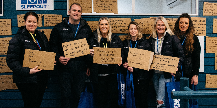 Leaders: Brisbane business and community leaders came together to help stop the cycle of homelessness at last night's Vinnies CEO Sleepout. Participants were encouraged to add their thoughts to the Reflection Wall.