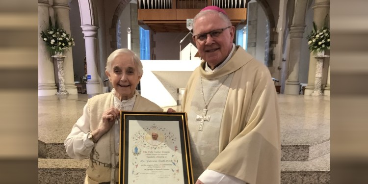 Long service: Archbishop Coleridge with 60-year professed Sister Patricia Lord, who received a papal blessing.