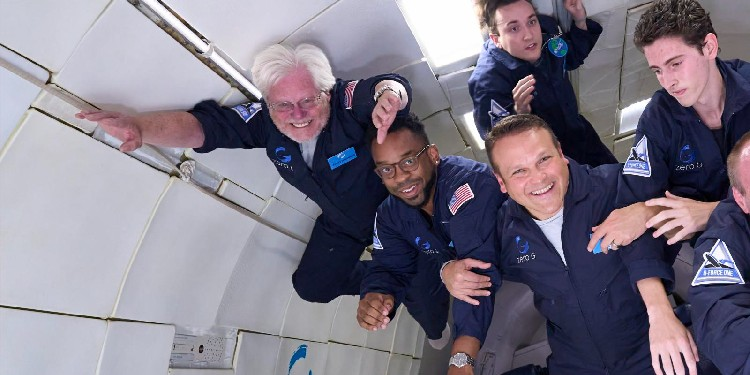"""New experience: Lying on the floor of the plane with the other passengers, Deacon Nosacek found that """"suddenly gravity is gone and you float off."""" Trainers instruct participants to """"fly like Superman"""" and not to push off or try to swim during the first few weightlessness periods because they will accelerate their movement uncontrollably."""