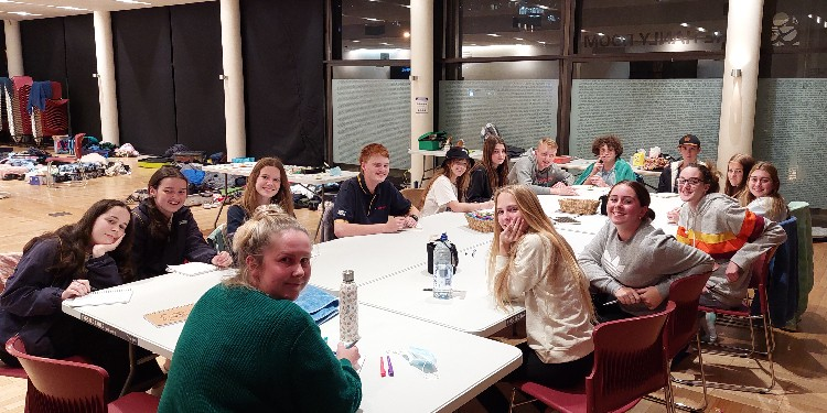 Reflections: The students from the immersion back at their sleeping quarters at the Hanley Room in the Cathedral precinct.