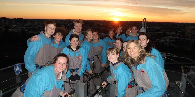 Serene: The students did a sunrise climb at the Story Bridge on Wednesday morning.