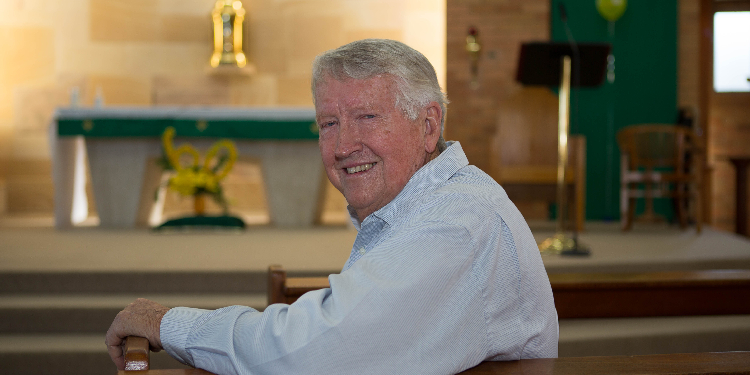Compassionate community: Long-time parishioner Richard Tiainen was a 14-year-old student at the parish school when he and his fellow altar boys processed into the newly built St Joachim's church 60 years ago.