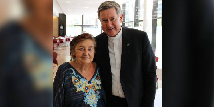 Clergy support: June McLeish, a strong supporter of priests in Brisbane archdiocese, with Fr Kevin Smith.