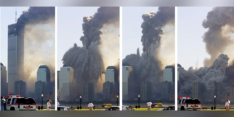 Destruction: A combination photo as seen from Jersey City, shows the remaining tower of New York City's World Trade Center dissolving in a cloud of dust and debris September 11, 2001, about half an hour after the first twin tower collapsed.