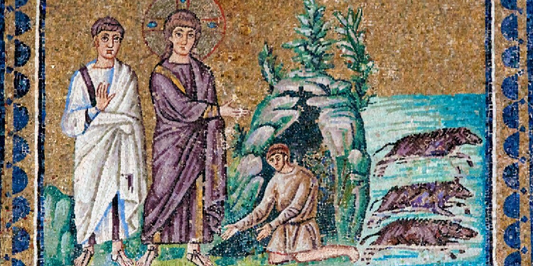 Early depiction: Mosaic of the exorcism of the Gerasene demoniac from the Basilica of Sant'Apollinare Nuovo in Ravenna, dating to the sixth century AD.
