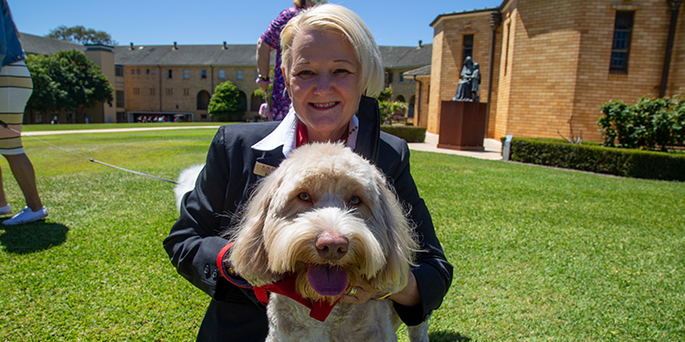 Calming presence: Archie the therapy dog with KM Smith Funeral Director's Jenny McIntosh.